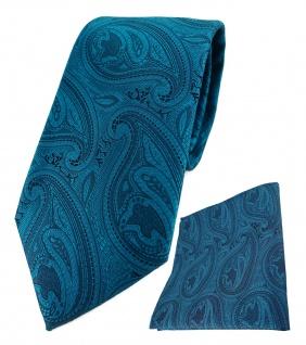 TigerTie Designer Krawatte + Einstecktuch in petrol schwarz Paisley gemustert