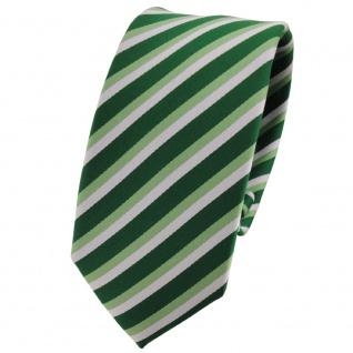 Schmale TigerTie Designer Krawatte grün hellgrün silber gestreift - Binder Tie