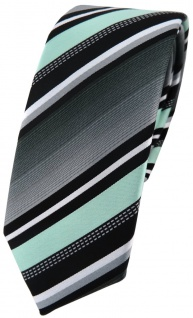 schmale TigerTie Designer Krawatte in mint silber grau weiss gestreift