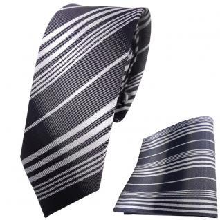 schmale TigerTie Krawatte + Einstecktuch anthrazit schwarz silber grau gestreift