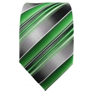 TigerTie Krawatte grün smaragdgrün silber anthrazit grau gestreift - Tie Binder - Vorschau 2