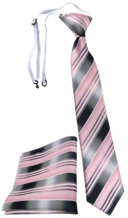 TigerTie Sicherheits Krawatte + Einstecktuch rosa hellrosa silber grau gestreift