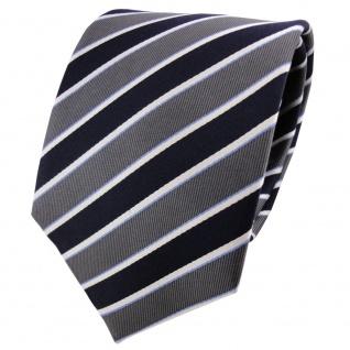 Satin Seidenkrawatte blau dunkelblau anthrazit silber gestreift - Krawatte Seide