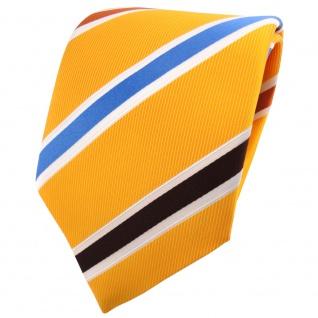 TigerTie Krawatte gelb sonnengelb braun blau rotorange creme gestreift - Binder