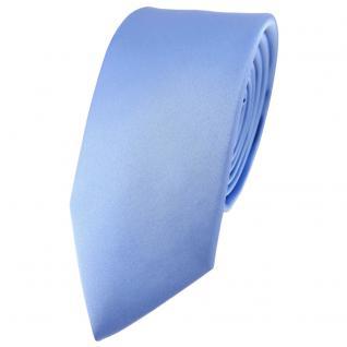 schmale TigerTie Satin Seidenkrawatte in blau einfarbig - Krawatte 100% Seide