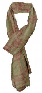 TigerTie Designer Schal in olive weinrot gemustert - Gr. 180 x 50 cm