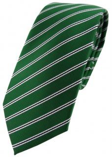schmale TigerTie Designer Krawatte in grün smaragdgrün schwarz weiß gestreift