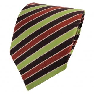 TigerTie Satin Krawatte grün braun dunkelbraun gestreift - Binder Tie Schlips
