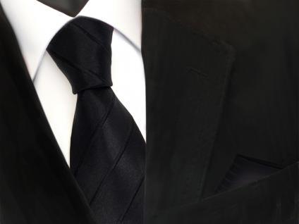 schöne Designer Seidenkrawatte + Einstecktuch in schwarz gestreift - Krawatte