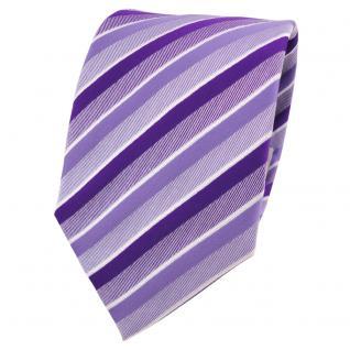 Designer Krawatte lila flieder weiß gestreift - Schlips Binder Tie