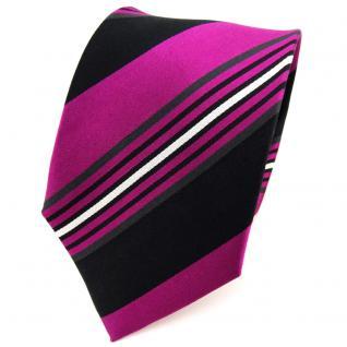 TigerTie Seidenkrawatte magenta schwarz anthrazit silber gestreift - Krawatte