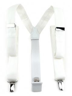 schmaler TigerTie Unisex Hosenträger mit 3 extra starken Clips - weiss einfarbig