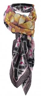 Halstuch flieder braun gelb türkis schwarz grau rot rosa geblümt, Gr. 100x100 cm
