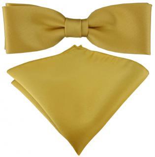 vorgebundete schmale TigerTie Satin Fliege + Einstecktuch in gold Uni + Box