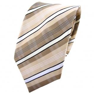 TigerTie Krawatte beige elfenbein weiß schwarz grau gestreift - Binder Tie