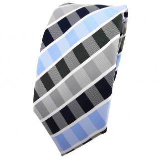 schmale TigerTie Krawatte blau hellblau dunkelblau grau anthrazit weiß gestreift