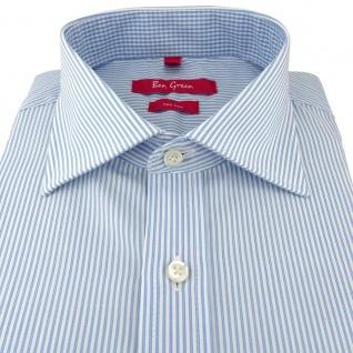 Ben Green Herrenhemd blau weiß langarm bügelfrei - New-Kent-Kragen Hemd Gr.41 - Vorschau 2
