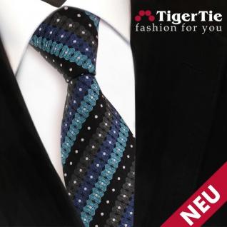 TigerTie Krawatte türkis blau schwarz anthrazit silber gestreift- Binder - Vorschau 3