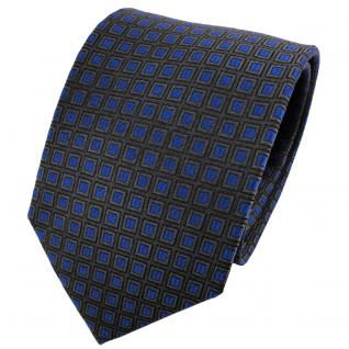 TigerTie Seidenkrawatte blau anthrazit grau Karo gemustert - Krawatte Seide
