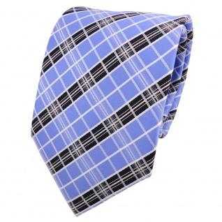 Designer Krawatte blau hellblau silber weiß kariert - Schlips Binder Tie