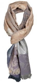 TigerTie Schal in Hautfarbe grau beige violett silber - Glitzerfäden eingezogen