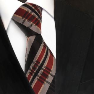 TigerTie Seidenkrawatte braun beige kupfer schwarz kariert - Krawatte Seide Tie