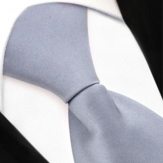 TigerTie Security Satin Seidenkrawatte in silber grau hellgrau uni mit Gummizug