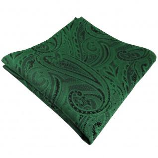 TigerTie Einstecktuch in grün smaragdgrün schwarz Paisley - Tuch Polyester