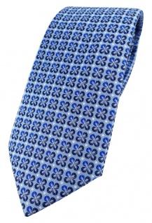 TigerTie Designer Krawatte in blau silber schwarz gemustert