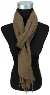 Schal in dunkelbraun einfarbig Uni mit Fransen - 170 x 50 cm - Tuch Baumwolle