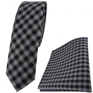schmale TigerTie Krawatte + Einstecktuch in anthrazit grau schwarz kariert