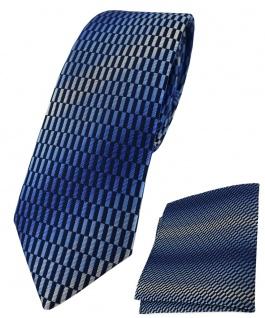 schmale TigerTie Krawatte + Einstecktuch blau marine royal silber grau gemustert