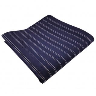 TigerTie Seideneinstecktuch blau dunkelblau silber gestreift -Einstecktuch Seide