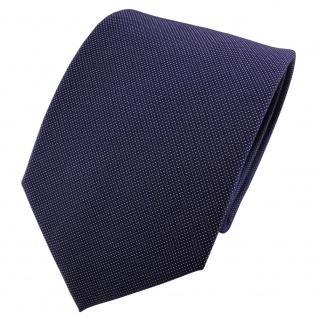 Satin Seidenkrawatte blau dunkelblau silber fein gepunktet - Krawatte Seide Tie