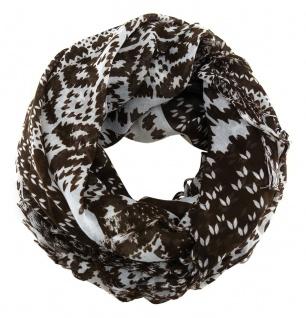 Halstuch in dunkelbraun grau gemustert mit Fransen - Größe 90 x 90 cm