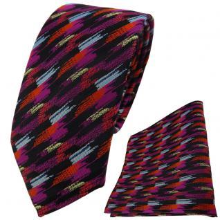 TigerTie Krawatte + Einstecktuch in orange lila silber gold schwarz gestreift