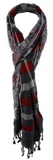 TigerTie Schal in rot rosa grau schwarz silber gemustert mit Fransen