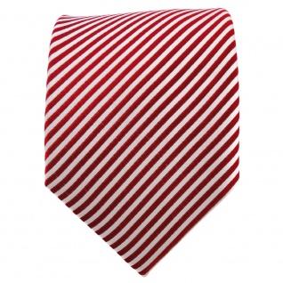 TigerTie Seidenkrawatte rot signalrot silber weiß gestreift - Krawatte Seide - Vorschau 2