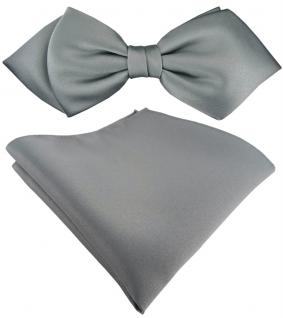 vorgebundene TigerTie Spitzfliege + Einstecktuch in grau Uni einfarbig + Box