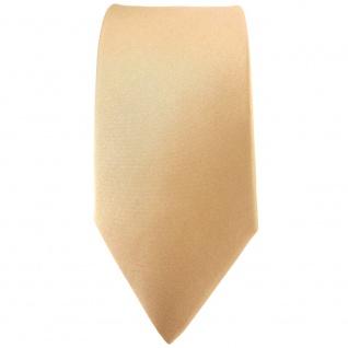 schmale TigerTie Satin Seidenkrawatte beige gold bronze einfarbig - 100% Seide - Vorschau 2