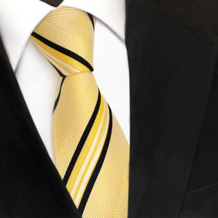 TigerTie Designer Seidenkrawatte gelb weiß schwarz gestreift - Krawatte Seide - Vorschau 3