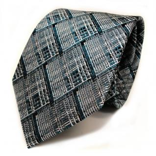Designer Seidenkrawatte türkis grau silber schwarz kariert - Krawatte Seide