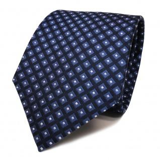Designer Seidenkrawatte blau royal dunkelblau silber Karo - Krawatte Seide Tie