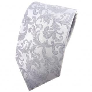 Hochzeit Seidenkrawatte silber Uni Rankenmuster - Krawatte 100% reine Seide