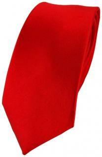 Schmale TigerTie Satin Seidenkrawatte rot blutrot Uni - Krawatte 100% Seide