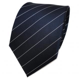 TigerTie Designer Seidenkrawatte blau royal silber gestreift - Krawatte Seide