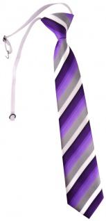 TigerTie Kinderkrawatte in lila violett grau weiss gestreift - mit Gummizug