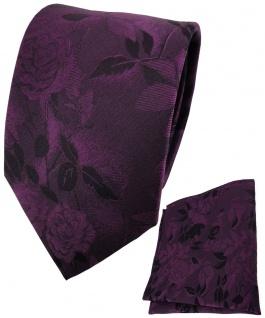 TigerTie Seidenkrawatte + Einstecktuch in lila violett schwarz Blumengemustert