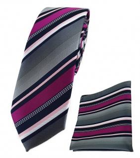 schmale TigerTie Krawatte + Einstecktuch in magenta grau weiss schwarz gestreift