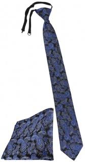 TigerTie Security Sicherheits Krawatte +Einstecktuch blau schwarz silber Paisley